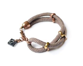 Nautical Bracelet, Maritime Jewelry, Taupe Cotton Rope Bracelet, Brownish Grey Layer Bracelet, Simple Cord Bracelet