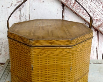 Vintage Biscuit Tin with Handles,  Sewing Basket with sewing contents yellow basket weave Primitive