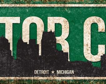 "Motor City // Detroit, Michigan // Metal Sign // 5.5"" x 22"""