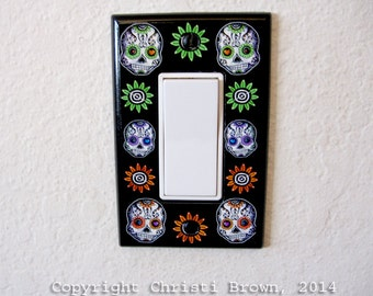 Day of the Dead Light Switch Plate Cover Sugar Skull wide Dia De Los Muertos
