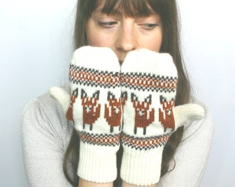 SALE! Fox Mittens 40% OFF! Fox Mittens Wool Fox Motif Fox Mittens Knitted Fox Womens Mittens Fox Mittens Red Mittens Fox Gloves Wool Gloves