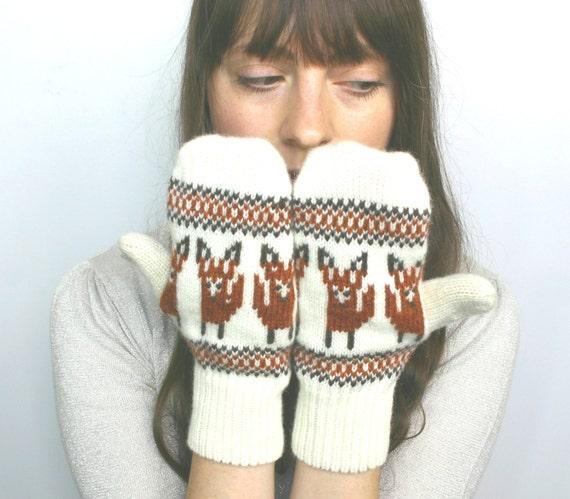 SALE! Fox Mittens 40% OFF! Fox Mittens Wool Fox Motif Fox Mittens Knitted Fox Womens Mittens Fox Mittens Red Mittens Fox Gloves Wool Gloves