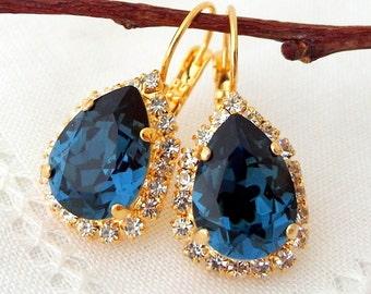 Navy Blue drop earrings,Navy blue dangle earrings,Swarovski crystal earrings,Navy blue bridal earrings,Navy blue bridesmaid,teardrop,gold