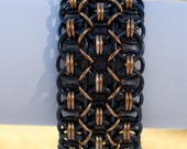 Black and Bronze Wide Helm Chainmaille Bracelet - Ready to Ship