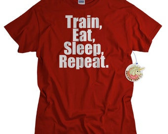 Work Out Clothes Gym Shirt Train Eat Sleep Repeat Workout Tshirt for Men Women Teens Funny Gym Shirt