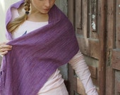 Lilac handwoven wrap merino wool scarf for her