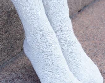 Hand knit Socks white alpaca wool