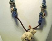Rabbit Cord Necklace with Handpainted Peruvian Beads Angora Bunny /N27 rabbit bunny angora white blue flower