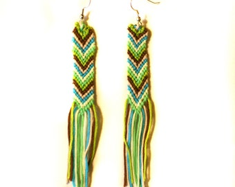 Braided Woven String Chevron Green, Blue, White, and Brown Earrings with Tassles/fringe