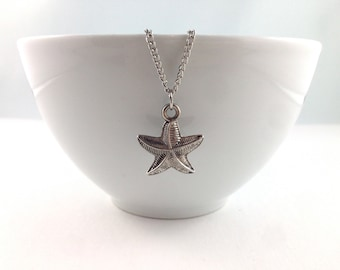 Starfish Necklace, Silver Nautical, Nautical Necklace, Nautical Jewelry, Beach Wedding, Bridal, Silver Necklace, Starfish Pendant, Charms