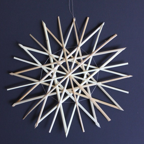 Straw Star Ornament, Straw Christmas Ornament - Large