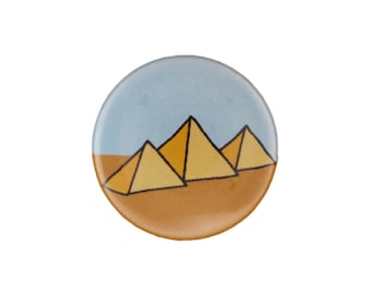 Great Pyramids of Giza - Egyptian Pin or Egyptian Magnet - Pyramid Pinback Button