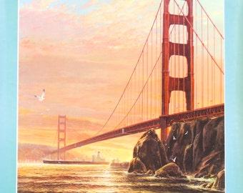 San Francisco Golden Gate Bridge Airline Poster Art, Delta 1986