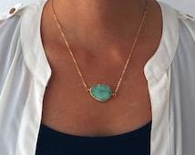 Aqua Druzy Necklace Gold Mint Green Teal Ombre Aquamarine Seafoam Geode Gemstone Layering Long Rustic Modern Statement Natural Stone C1