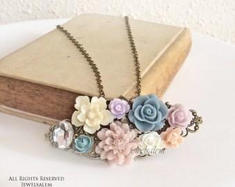 Wedding Necklace Bridal Jewelry Bridesmaid Gift Mauve Blush Ivory Gray Blue Floral Rhinestone Crystal Shabby Chic Flower Woodland SB PM