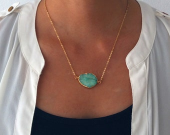 Aqua Druzy Necklace Gold Mint Green Teal Ombre Aquamarine Seafoam Geode Gemstone Layering Long Rustic Modern Statement Natural Stone C1
