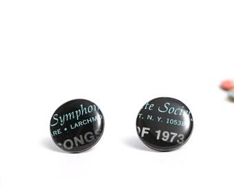 eco-friendly stud earrings vinyl record post earrings black earrings recycled jewelry 20 mm modern jewelry music jewelry gift idea for her