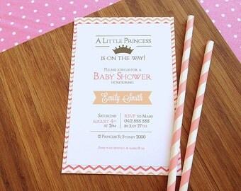 Little Princess Baby Shower Invitation - Baby Girl - Pink and Peach - PRINTABLE JPEG or PDF file
