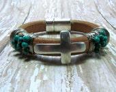 Turquoise Bracelet, Cross Bracelet, Natural Leather Bracelet, Regaliz Bracelet, Leather Bracelet, Wire Wrapped Leather Bracelet, Silver