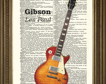 "GIBSON ELECTRIC GUITAR: Dictionary Page Art Print Vintage Les Paul (8 x 10"")"