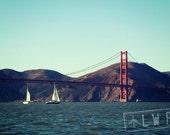 Coastal Beach House Decor, Nautical Decor, Sailboat Decor, Golden Gate Bridge, San Francisco, Wanderlust Travel, 8x12  10x15 12x18 16x24