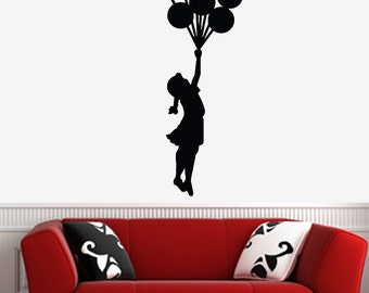 """WALL - Banksy Style - Flying Balloon Girl - LARGE - Wall Vinyl Decal (22""""w x 60""""h) (Color and Size Choices Available)"""