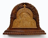 Art Wood Carving, Virgin Mary and Jesus, Orthodox, Christian Religious Icon, Byzantine, Wood Sculpture, Home, Fireplace decor, MariyaArts