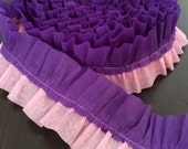 Pink & Purple Ruffle Crepe Paper Ruffled Streamer Banner 15ft Garland Party Decor Rapunzel, Tangles, Princess Birthday, Shower, Wedding
