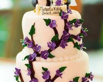 Love bird penguin wedding cake topper, radiant purple wedding