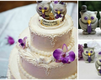Owl Purple Wedding Cake Topper Love Bird With PURPLE EYES Birdcage Veil For Bride