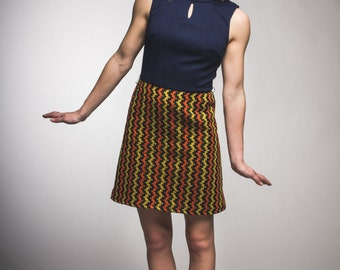 Upcycled vintage navy retro geometric womens dress size small extra small