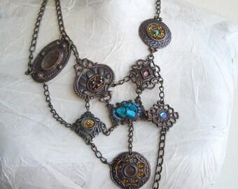 Ethnic collar necklace bold/multi pendant chain necklace/ Metal chain choker bronze color /Metal necklace avant garde