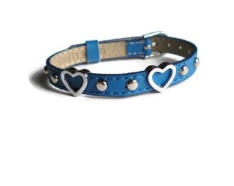 Royal Blue Leather Heart Charm Bracelet -  Leather Heart Charm Wristband - Studded 8mm Royal Blue Leather  Strap