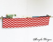 Chevron Fabric Book Sling, Diaper Caddy, Fabric Book Shelf, Magazine Sling, Nursery Decor - AveryleeDesigns