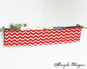 Chevron Fabric Book Sling, Diaper Caddy, Fabric Book Shelf, Magazine Sling, Nursery Decor, Classroom, Pre-school