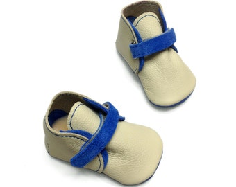 Baby shoes. Soft soled cream and blue leather baby boots. Handmade baby boy shoes.