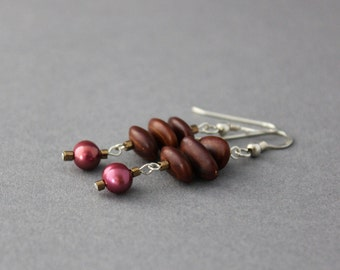 purple dangle earrings  freshwater pearls and acacia seed  earrings plum and chestnut brown  one of a kind valentines gift