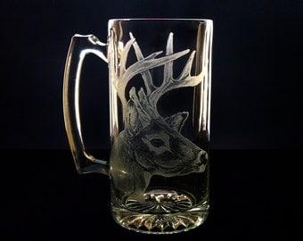 Beer Mug Custom Glassware Buck Head   White Tail Deer  Large glass mug  Rustic groomsmen