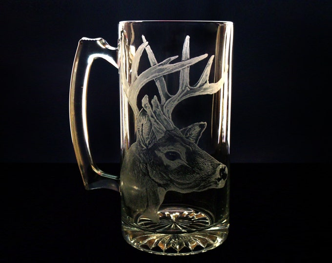 Beer Mug Custom Glassware Buck Head   White Tail Deer  Large glass mug  Rustic groomsmen