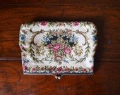 50s Petit Point Tapestry Purse - floral tapestry, needlepoint, clutch, bag, evening purse, Prestige NSW