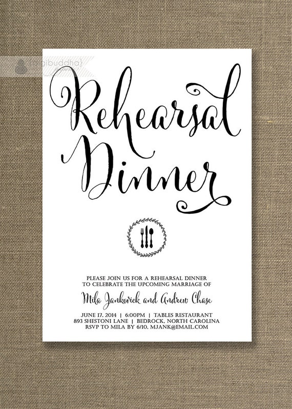 Black White Rehearsal Dinner Invitation Wedding Simple