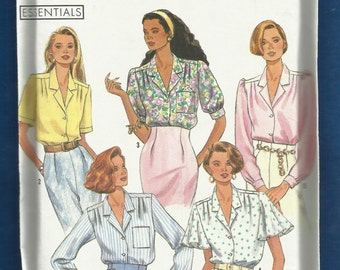 Simplicity 9857 Notched Collar Blouses with Sleeve Variations & Shoulder Gathers Sizes 6 to 14 UNCUT