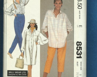 Vintage 1983 McCalls 8531 Summer Willi Wear LTD Shirt Dress or Tunic and Capri Pants Size 8
