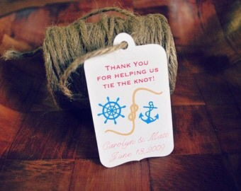 Wedding favour tag gift tag Tie the Knot Nautical Favour Tag  Wedding Custom Colours and Personalization