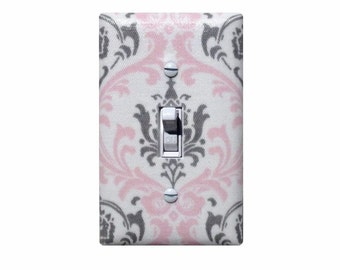Damask Light Switch Plate / Pink Gray White Baby Girl Nursery Wall Decor / Bella Girls Room / Premier Prints