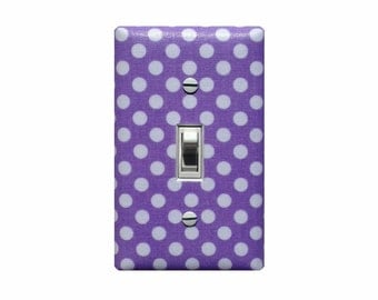 Lilac White Polka Dot  Light Switch Plate Cover / Baby Girl Nursery Decor / Light Purple Lavender / Slightly Smitten Kitten