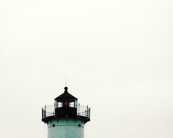 Lighthouse Nubble Light Maine Coastal Art Minimal Ocean Photograph Teal Aqua Black White,  Fine Art Print