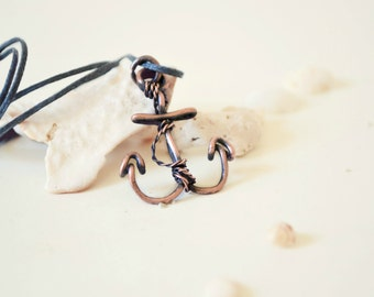 Anchor Necklace Wire Wrapped Charm Nautical Jewelry Mens Necklace Sailor Captain Hook