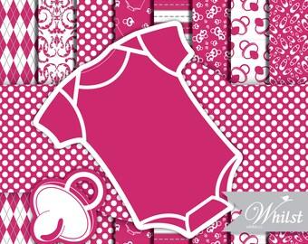 Baby clip art frame clipart digital paper romper polka dot pink frame scrapbook fuschia baby frame clip art : p0200 3s3850