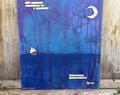 "Original Art - ""Soul at Sea"" - FREE USA Shipping, Purple Blue Sailboat Sailing Ocean Waves Sea Water, Moon Night Sky, Poem Painting Art 8x10"